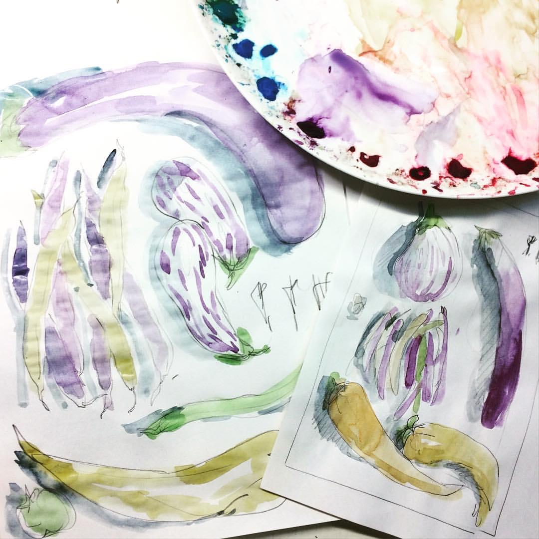 vegetables in watercolor